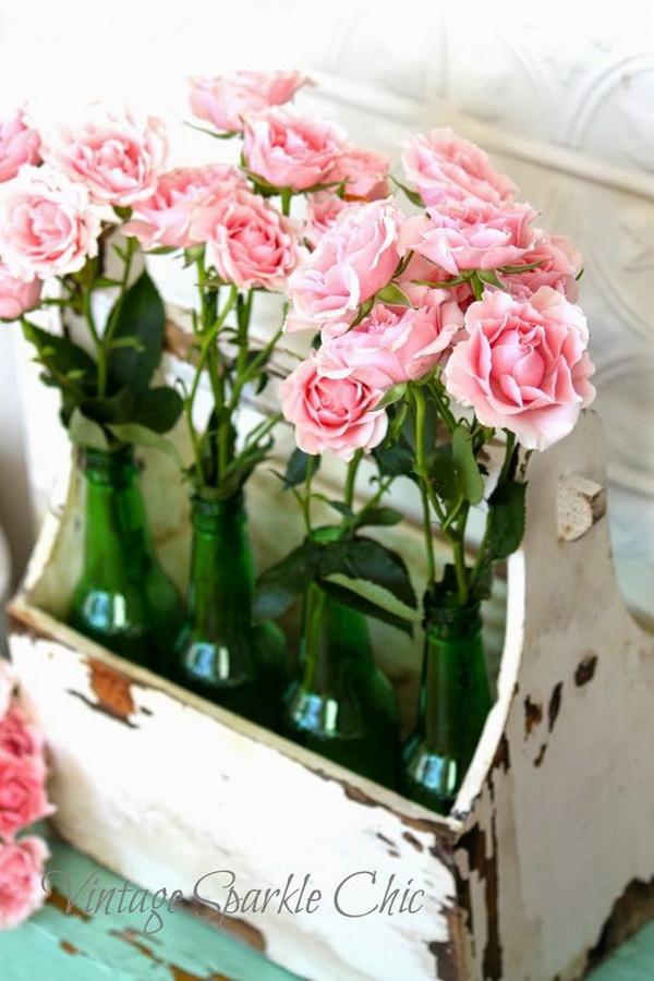 Pale Pink Roses in Vintage Wood Box.