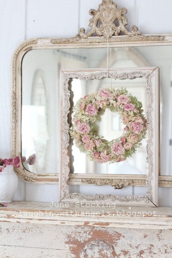 Shabby Chic Decor with Mirror and Fresh Flowers.