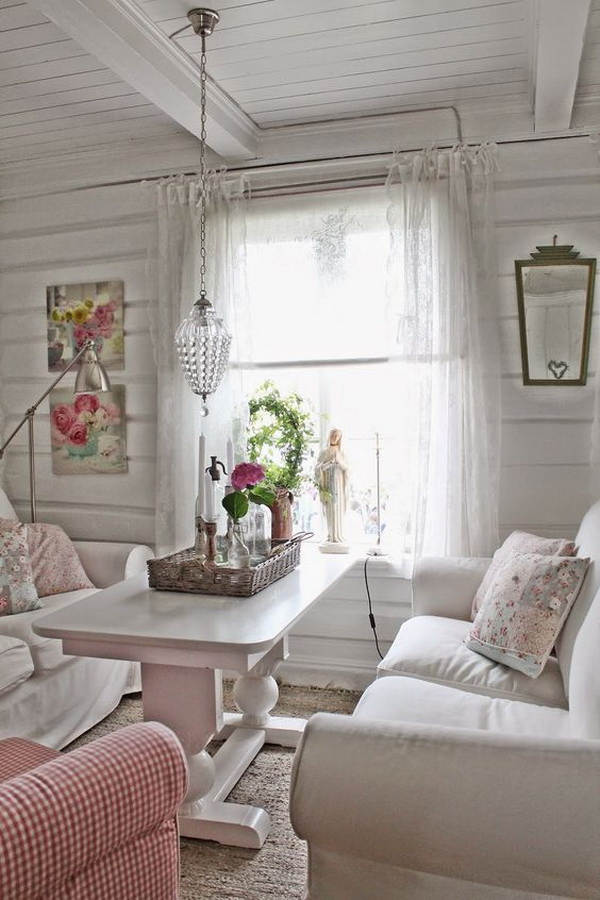 Cottage Style Living Room With Shabby Chic Warm