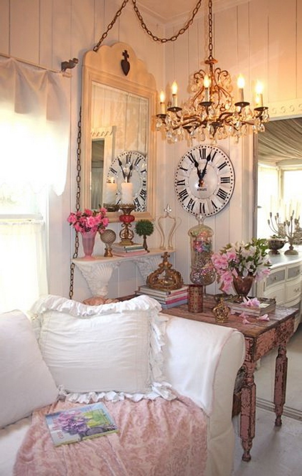 Beautiful Shabby Chic Living Room Decorating With Warm Glow of Light.