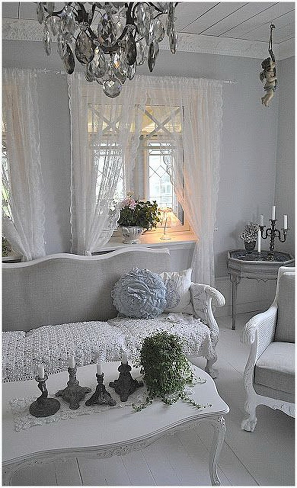 Whitewashed Shabby Chic Living Room.