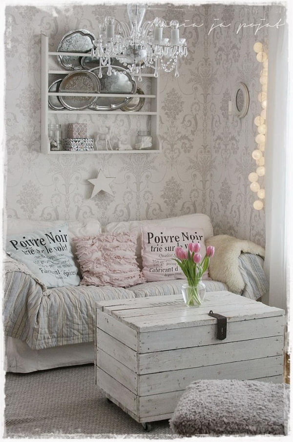 Shabby Chic Whitewashed Chest Center Table and Vintage Wall Paper for Living Room Decor.