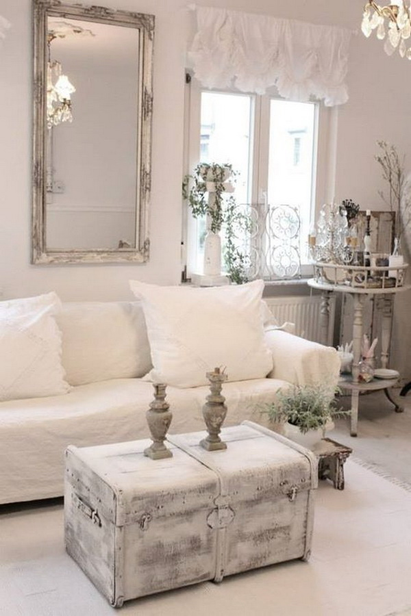 Shabby Chic Whitewashed Chest And A Framed Mirror For Living Room Decor