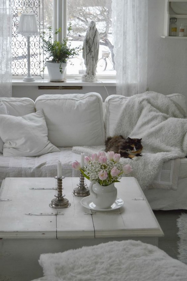 Shabby Chic Whitewashed Family Room.