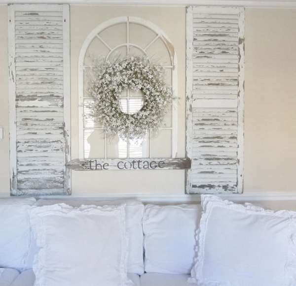 Shabby Chic Decorating With Old Shutters.