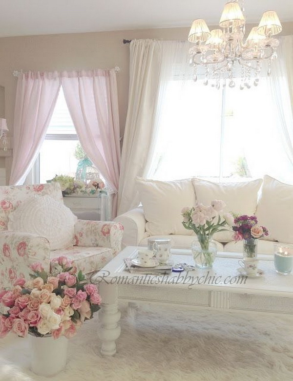 25 charming shabby chic living room decoration ideas for Room romantic style