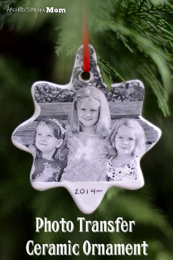 DIY Photo Transfer Ceramic Ornaments. Love the lovely star shape of this ornament! Gifts or for your own Christmas tree decoration!