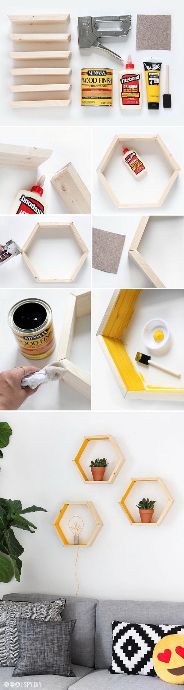 DIY Hexagonal Shelves. A hexagon is a six-sided shape that is well suited for making a shelved unit for decorations or plants. Try to make your own one and add more character and style to your home decor.