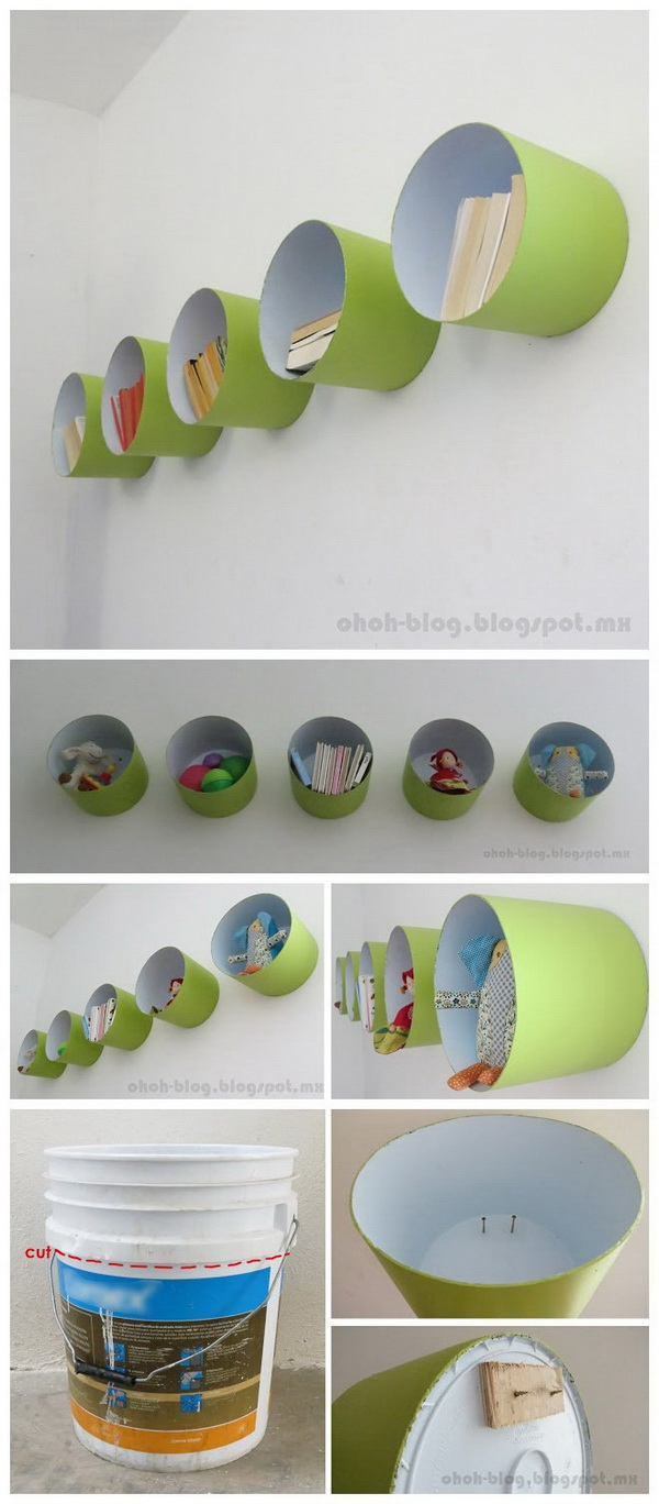 Shelves Made With Paint Bucket. A quick and easy project that adds a unique piece to your kids' room.