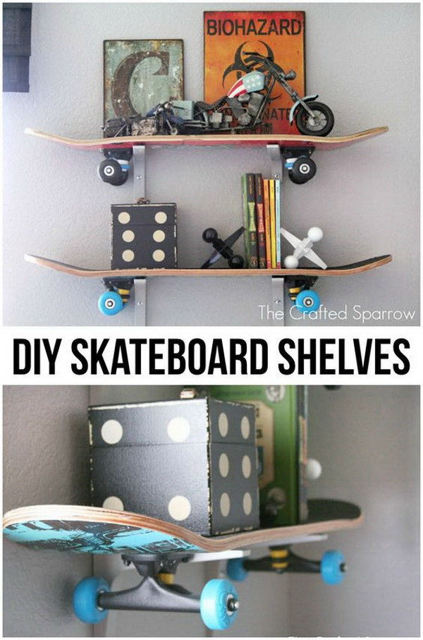 DIY Skateboard Shelves. Recycle the old  skateboards into these useful floating wall shelves! Easy and cheap to do for under $30 and are perfect for boys' room!