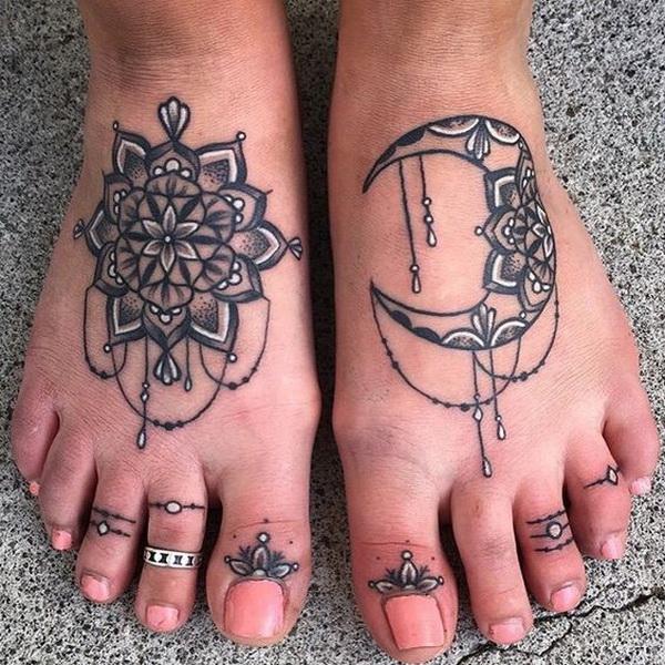 Henna Sun and Moon Tattoo on Foot.