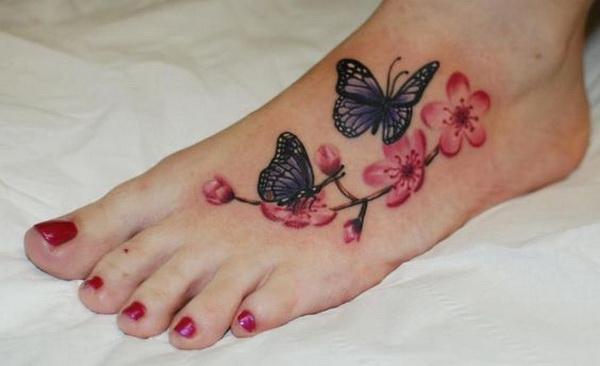 Butterfly Flower Foot Tattoo.