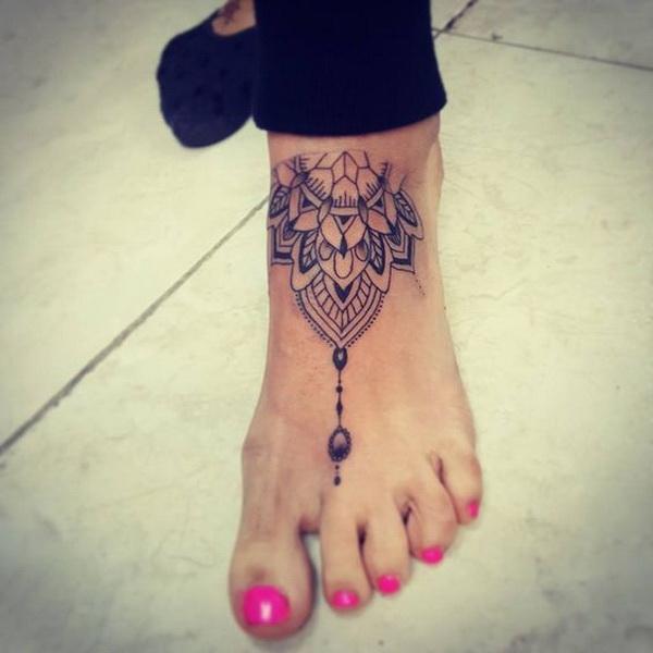 Mandala Tattoo On Left Foot.