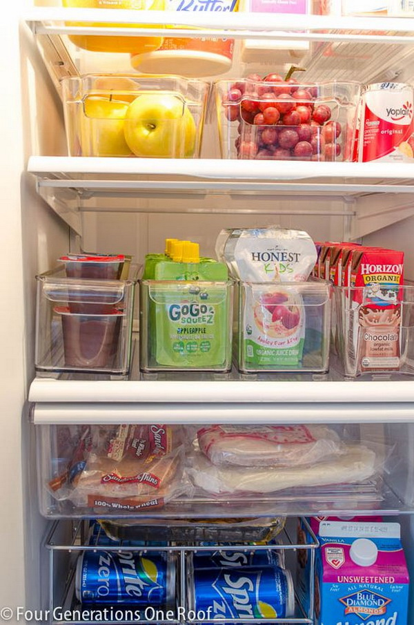 Organize the Fridge with Clear Bins. Use clear bins to organize your fridge, and see everything in one glance!