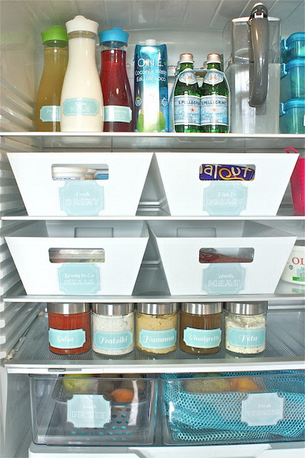 Keep everything in the fridge organized and easy to find by labeling.