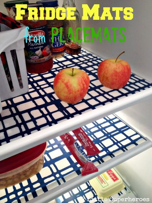 DIY Fridge Mats from $2 Vinyl Placemats. Keep your fridge clean with DIY fridge mats made from $2 vinyl placemats from Target.