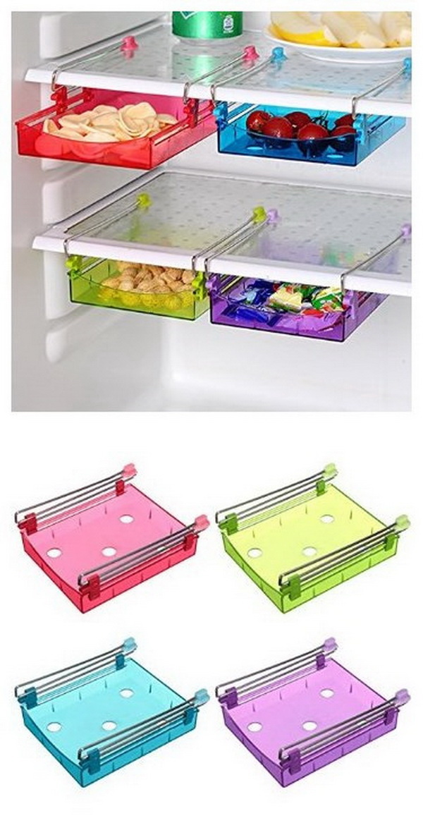 Multipurpose Fridge Sliding Storage Drawer. Keep every small items in place with these sliding storage drawers in the fridge!