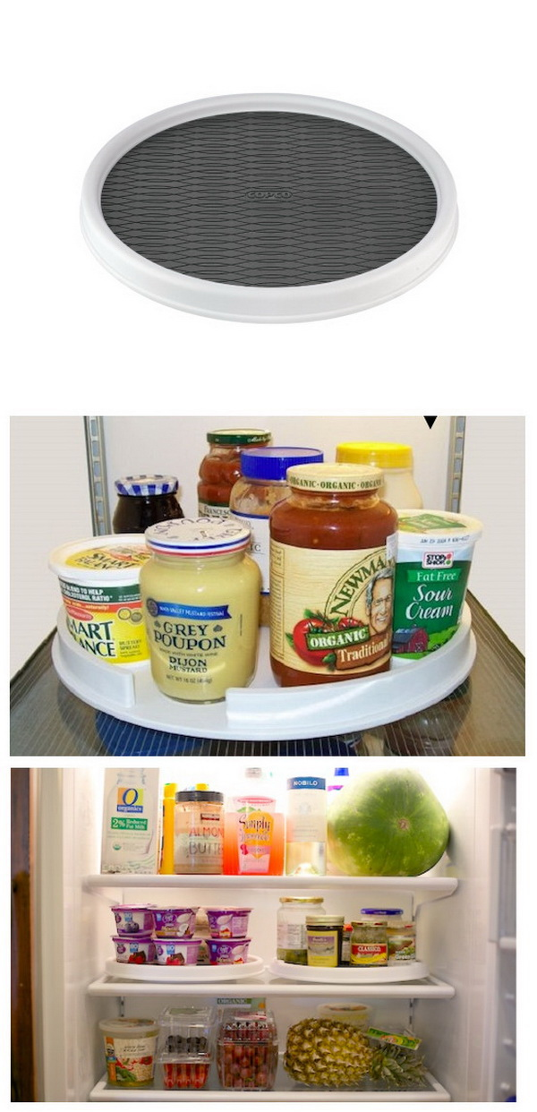 Lazy Susan in The Fridge. Make everything, especially the small items in your fridge organized and easily accessible by putting a small or two Lazy Susan in.