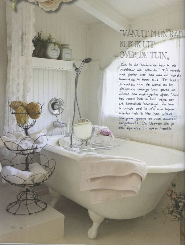 Whitewashed Shabby Chic Bathroom