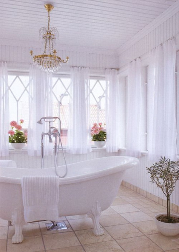 Feminine White Shabby Chic Bathroom Decor