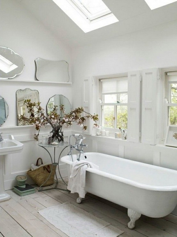 Shabby Chic Bathroom With Five Or More Mirrors
