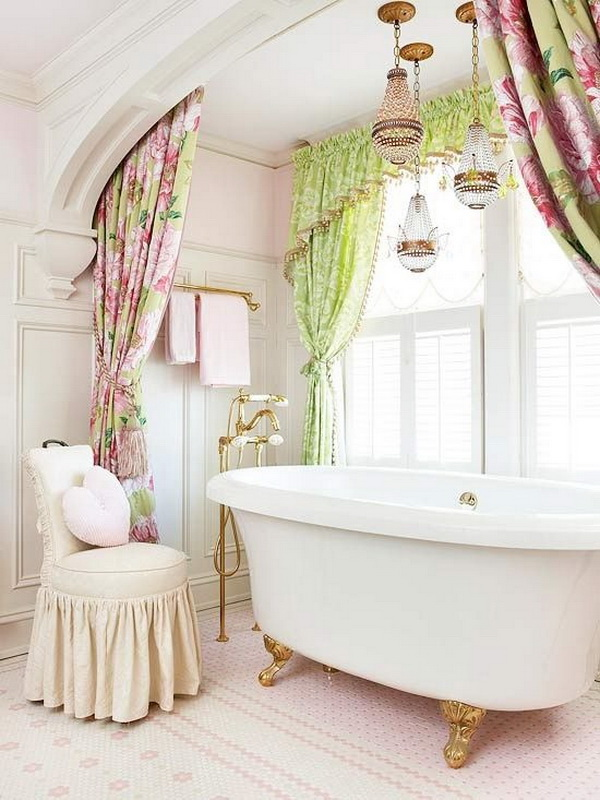 Pink and Green Curtains Alongside Gold and Silver Chandeliers for A Shabby Chic Look.