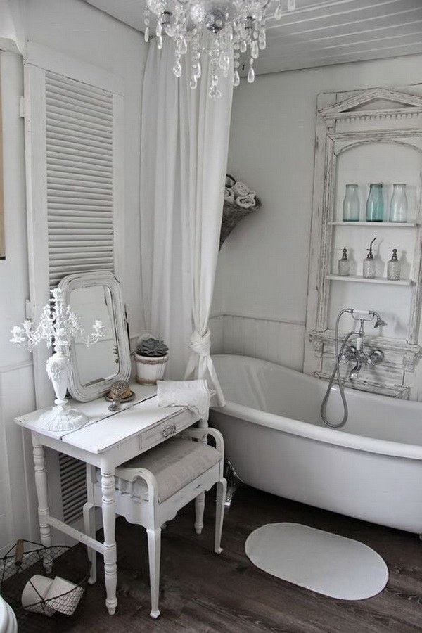Romantic Whitewashed  Shabby Chic Bathroom.