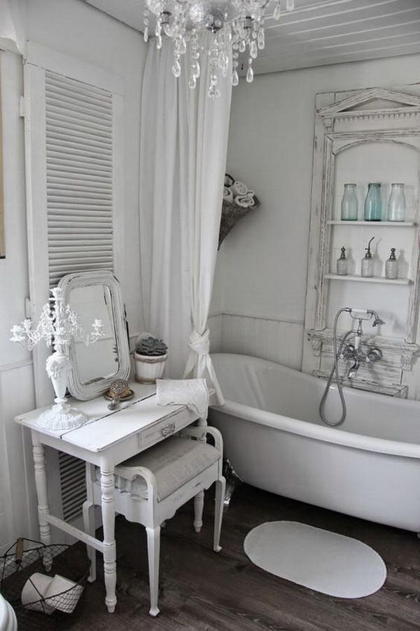 Romantic Whitewashed  Shabby Chic Bathroom.