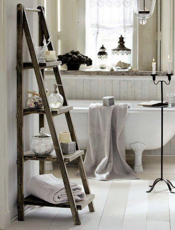 Old Wood Ladder As Rustic Bathroom Storage