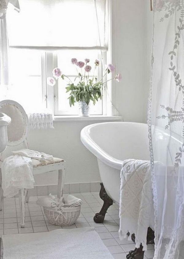 Feminine Shabby Chic Bathroom.