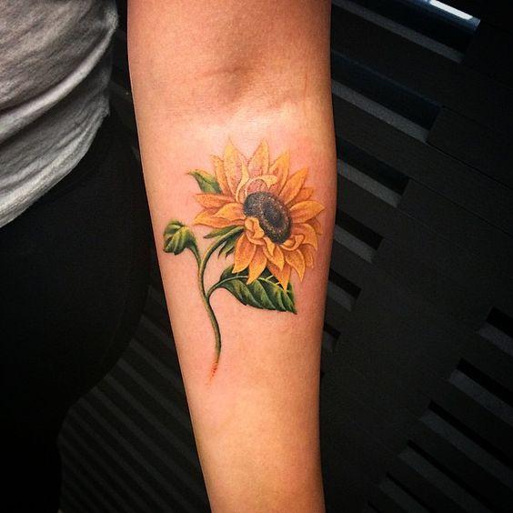 Sunflower Tattoo on Inner Arm.