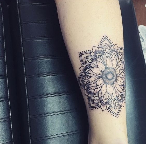 Hippie Boho Mandala Sunflower Women Tattoo.