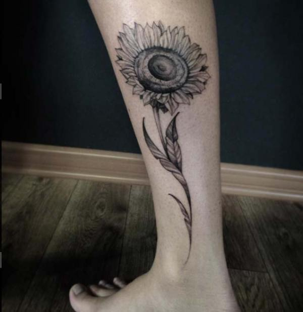 Long-stemmed Legwork of Sunflower Tattoo.