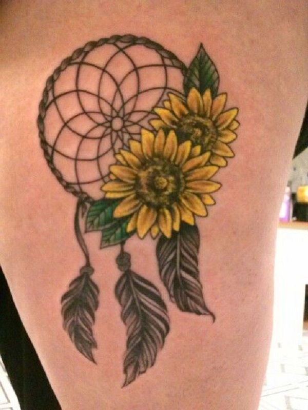 Sunflower Tattoo with Dream Catcher.