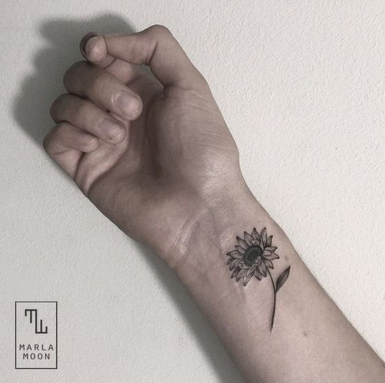Vintage Black and Gray Sunflower Arm Tattoo. Good looking!