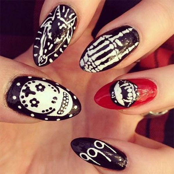Almond Halloween Nail art - 50+ Spooky Halloween Nail Art Designs - For Creative Juice