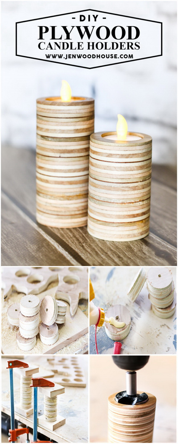 Scrap Plywood Candle Holders. Make DIY tea light candle holders out of scrap plywood.