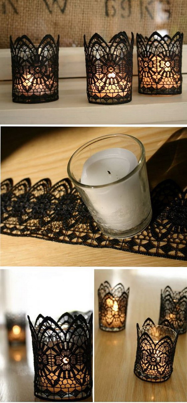 DIY Black Lace Votive Holders. Add A Perfect Touch To Your Table Halloween  Decoration With