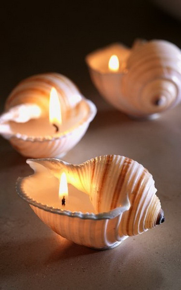 DIY Sea Shell Candles. Seashells are enjoyable to collect and pick up at the beach. If you collect a large assortment of shells, there are many ways to use the shells for crafts and decorating.
