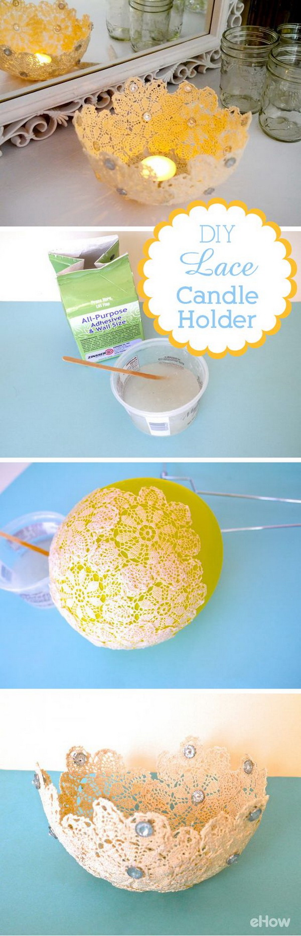 DIY Lace Votive Holder. This beautiful, delicate votive holder is easily made from doilies found at a flea market.