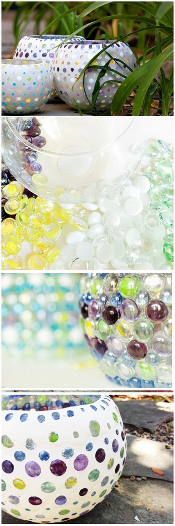 DIY Fishbowl Candle Holders. DIY mosaic glass candle votive using glass beads to add color.
