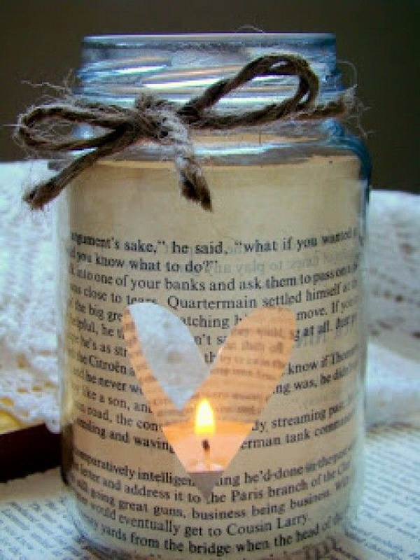 DIY Book Page Mason Jar Candle Holders. Look cute on the tables as a candle centrepiece, or clustered in groups around the room to add a touch of rustic and vintage charm to decor!