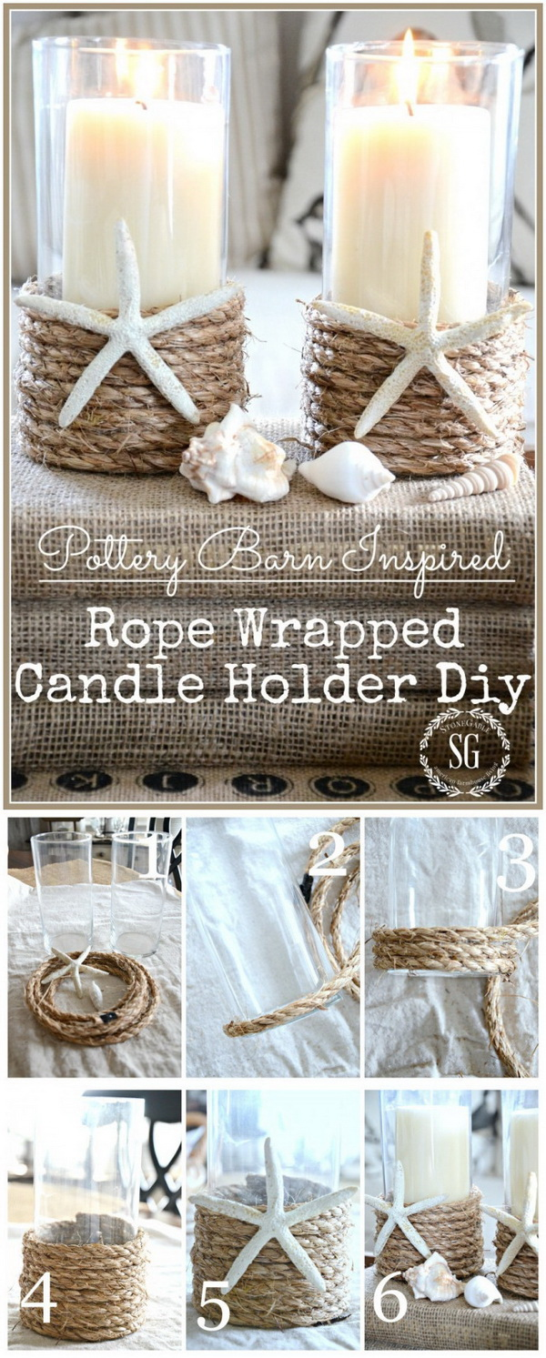 Pottery Barn Inspired Rope Wrapped Candleholder.