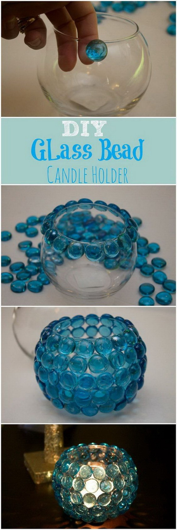 Glass Bead Candle Holders. Best and super easy dollar store crafts! These would make great centerpieces for a wedding.