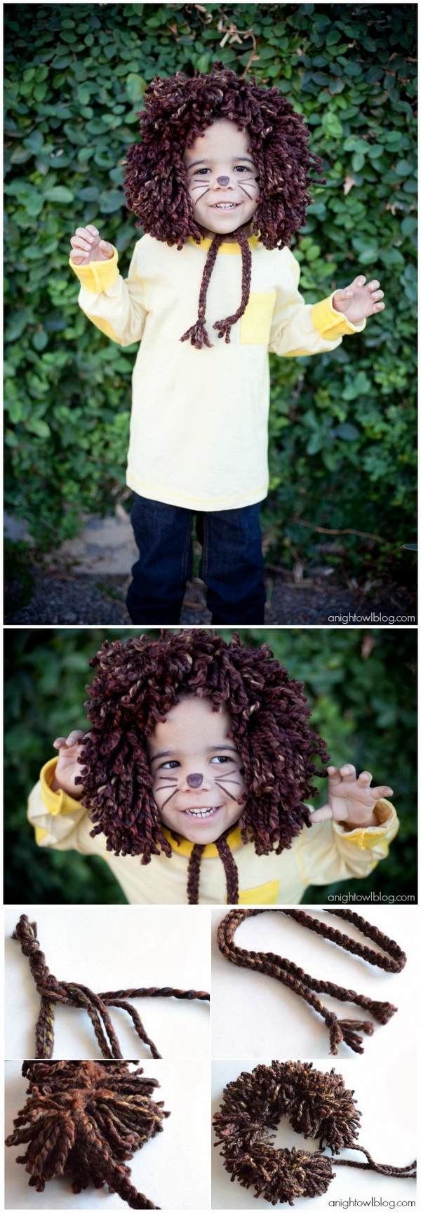 Easy No-Sew Kids Lion Halloween Costume.