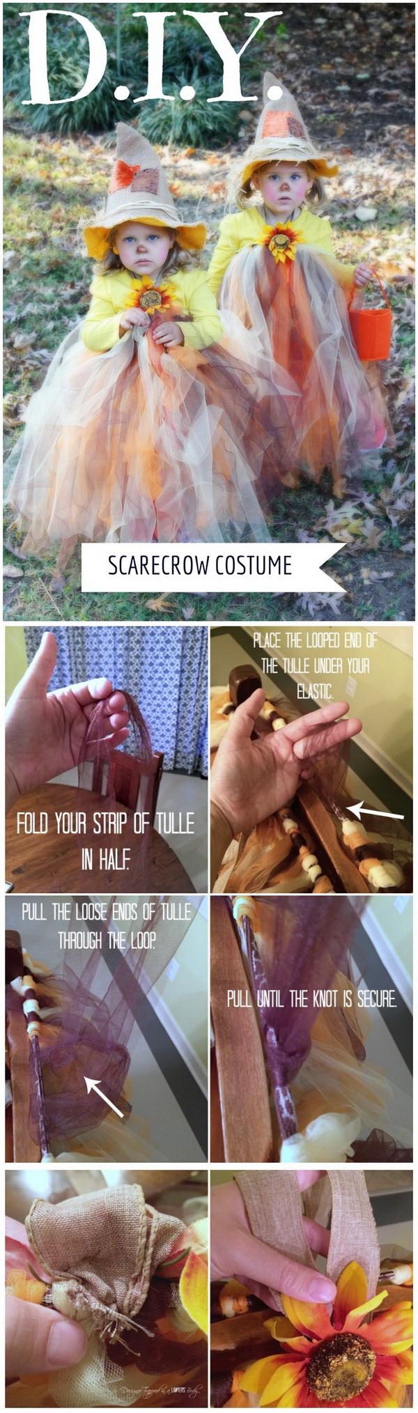 DIY Scarecrow Tutu Halloween Costume.