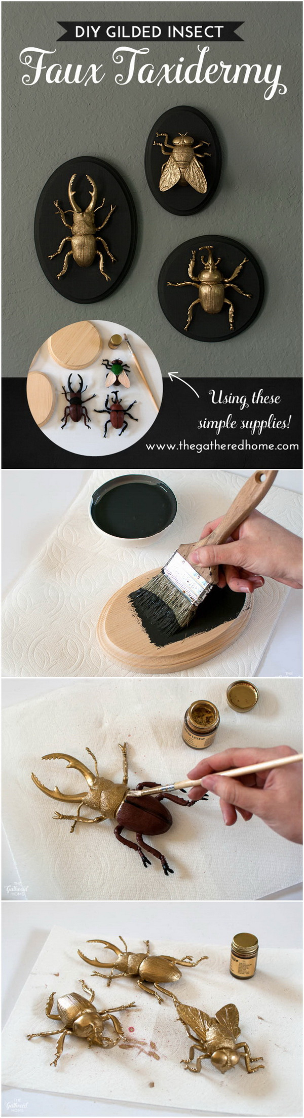 DIY Gilded Insect Faux Taxidermy. Make a crazy, glam 3D addition to my living room with these gilded insect art pieces!