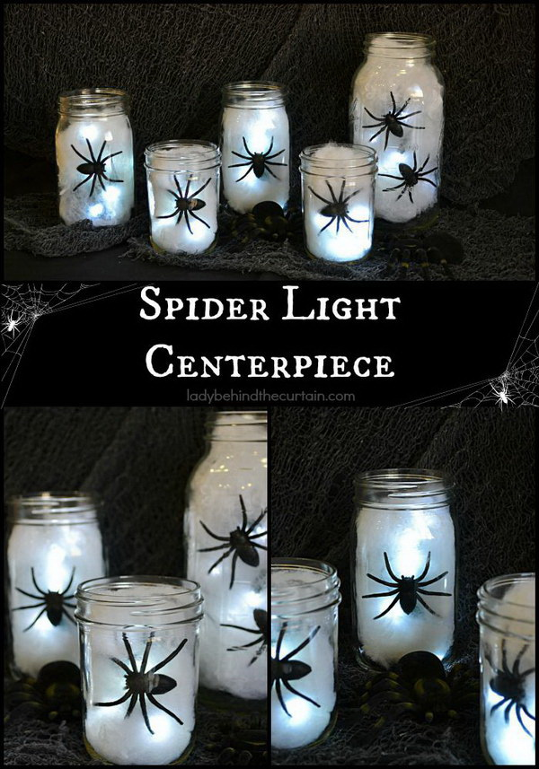 diy halloween spider light centerpiece - Homemade Halloween Centerpieces