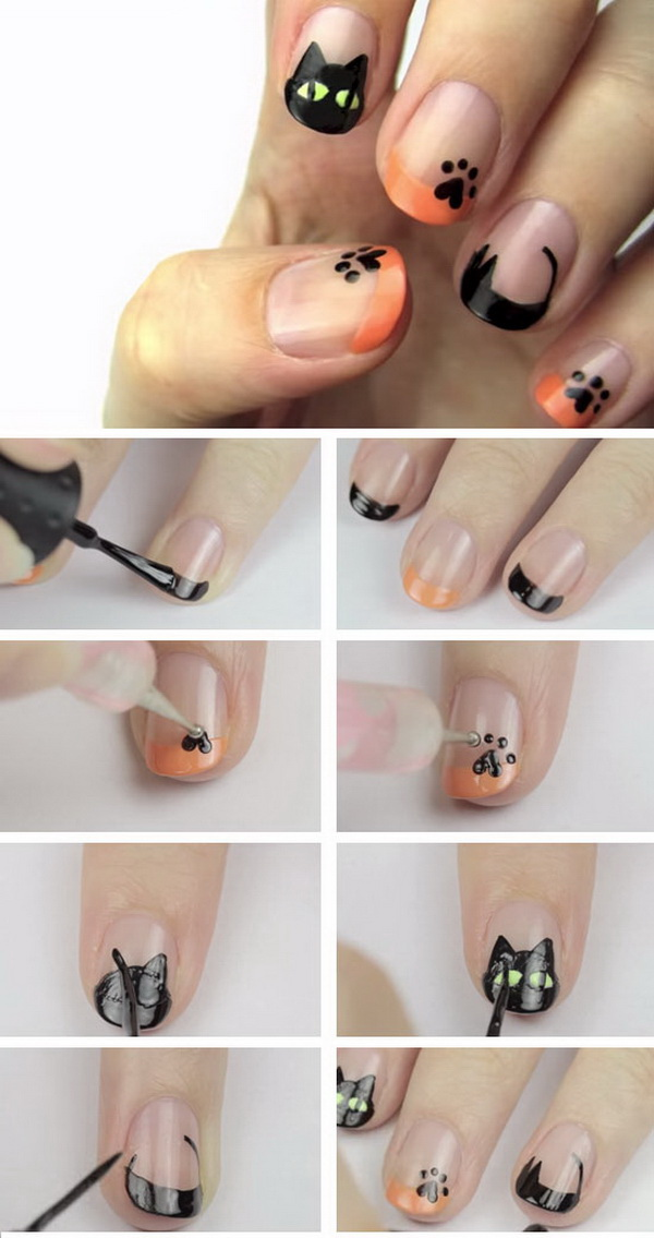 Black Cats Halloween Nail Art.