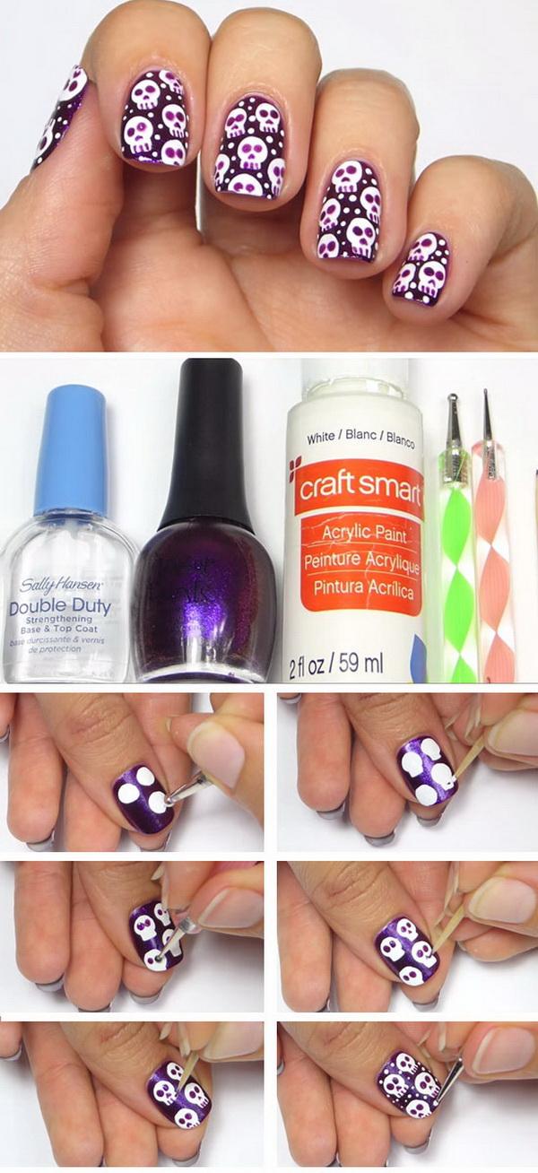 Cool easy nail designs to do yourself fabulous diy polka dots nail free skulls halloween nail ideas with cool easy nail designs to do yourself solutioingenieria Image collections